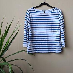 J. Crew Striped Boatneck Long Sleeve Shirt size M